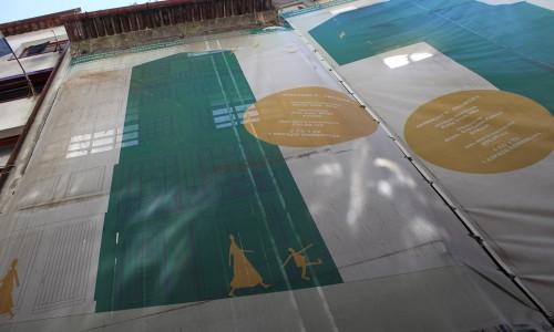 Fachada da obra dos projectos 3 e 4 da operação C, na Rua dos Mercadores